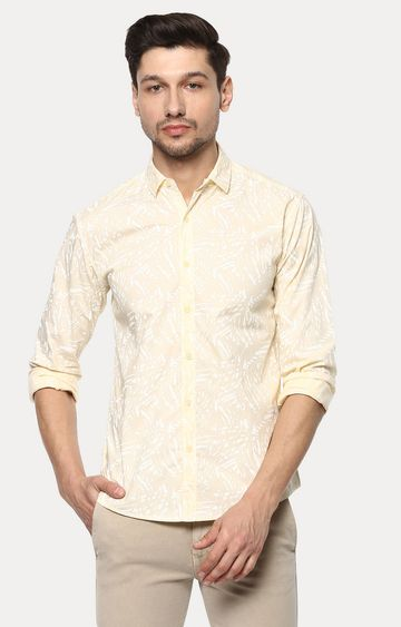 spykar | Spykar Yellow Printed Slim Fit Casual Shirts
