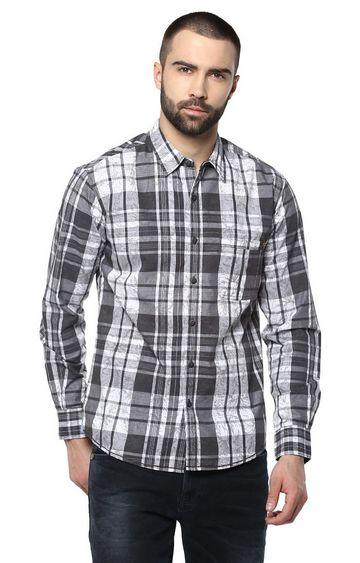 spykar | Spykar Black Checked Slim Fit Casual Shirts