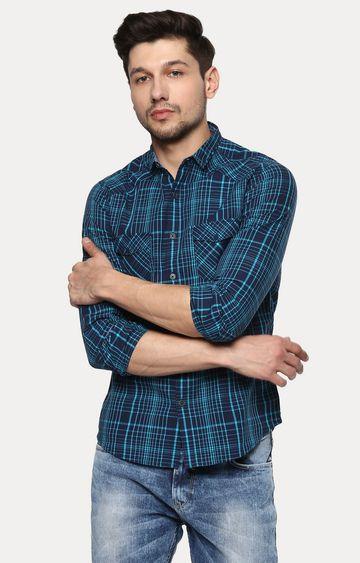 spykar | Spykar Blue Checked Slim Fit Casual Shirts