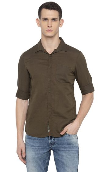 Spykar | spykar Olive Solid Casual Shirt