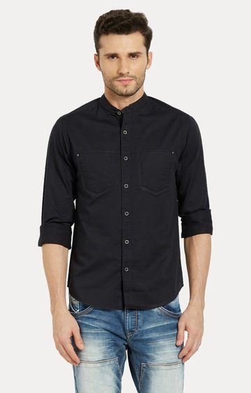 spykar | Spykar Black Solid Slim Fit Casual Shirts