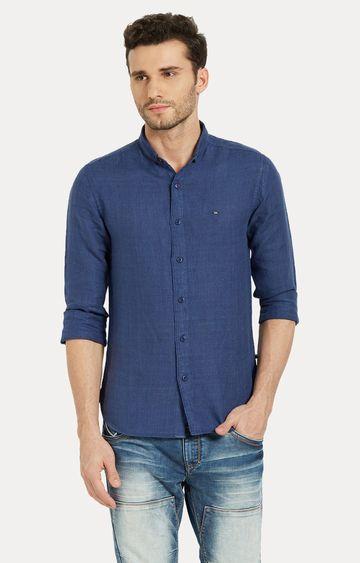 Spykar | spykar Blue Solid Slim Fit Casual Shirt