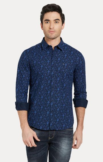 spykar | Spykar Blue Printed Slim Fit Casual Shirts