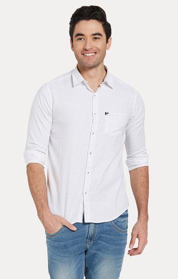 spykar | Spykar White Printed Slim Fit Casual Shirts