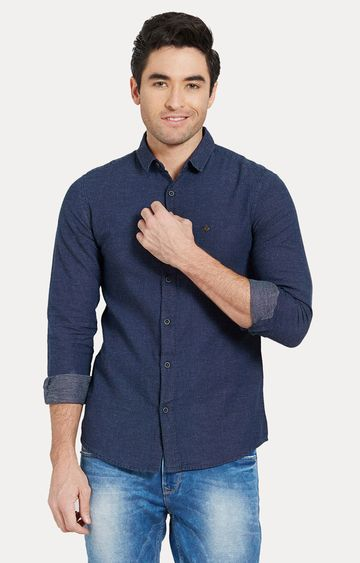 spykar | Spykar Blue Solid Slim Fit Casual Shirts