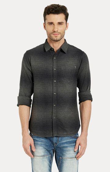 spykar | Spykar Grey Printed Slim Fit Casual Shirts