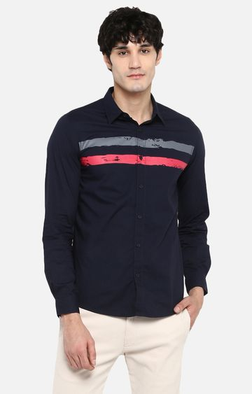 Spykar   spykar Navy Striped Slim Fit Casual Shirt