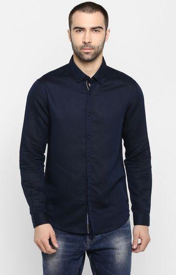 Spykar | spykar Navy Solid Slim Fit Casual Shirt