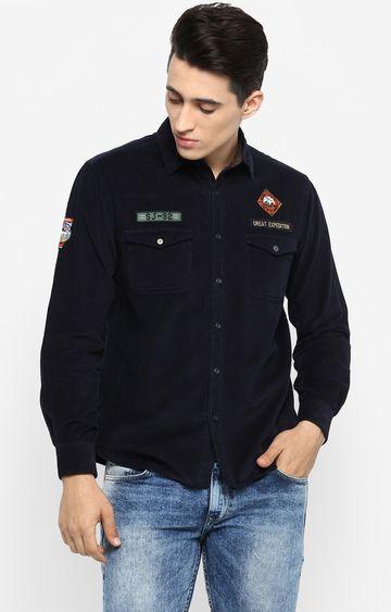 Spykar   spykar Navy Solid Slim Fit Casual Shirt