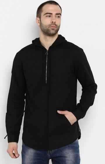 spykar | spykar Black Solid Slim Fit Hoodies