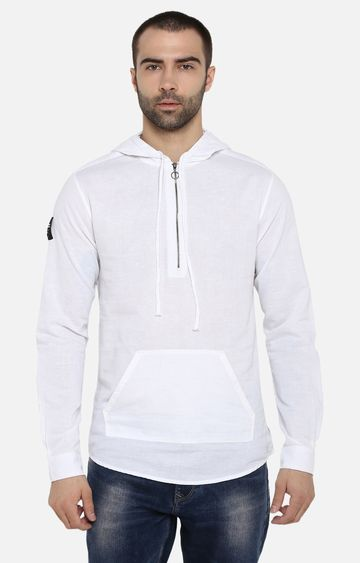 spykar | Spykar White Solid Slim Fit Hoodies