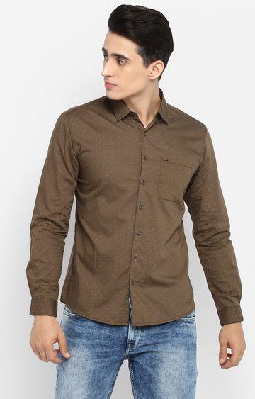 Spykar   spykar Olive Printed Slim Fit Casual Shirt