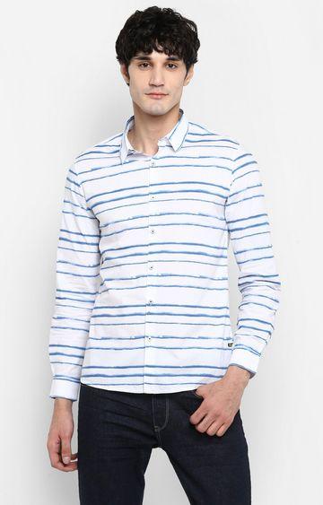 Spykar   spykar White Striped Slim Fit Casual Shirt