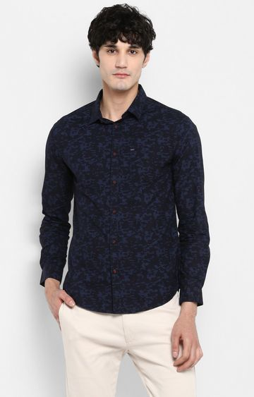Spykar   spykar Black Printed Slim Fit Casual Shirt