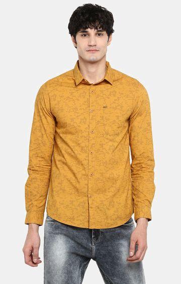 Spykar | spykar Mustard Printed Slim Fit Casual Shirt