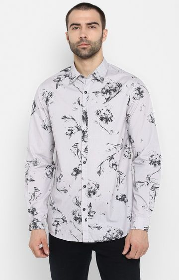 spykar | Spykar Grey Printed Slim Fit Casual Shirts
