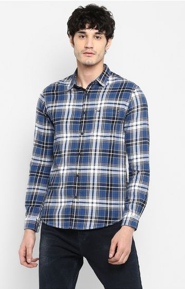 spykar | Spykar Blue Checked Slim Fit Casual Shirts