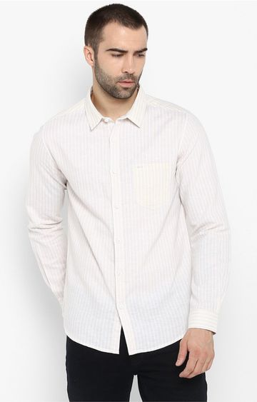 Spykar   spykar Beige Striped Slim Fit Casual Shirt