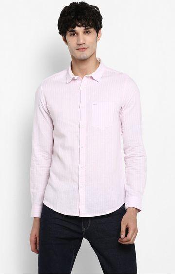 Spykar | spykar Pink Striped Slim Fit Casual Shirt