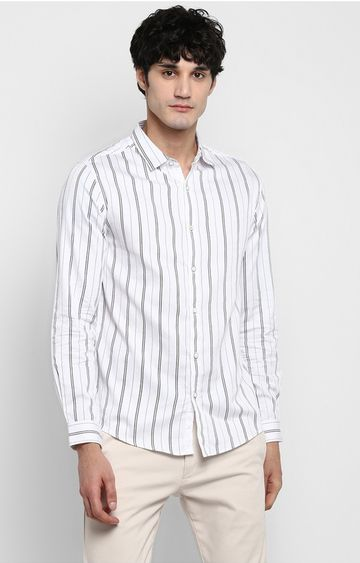 Spykar | spykar White Striped Slim Fit Casual Shirt