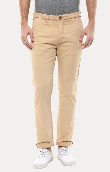 spykar | Spykar Beige Solid Slim Fit Chinos
