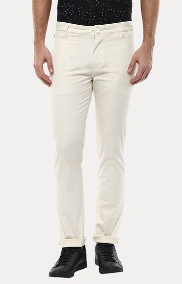 spykar | Spykar White Solid Slim Fit Chinos