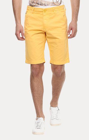 spykar | Spykar Yellow Solid Slim Fit Shorts