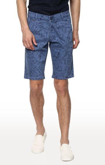 spykar | Spykar Blue Printed Slim Fit Shorts