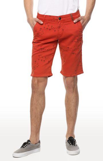 spykar | Spykar Red Printed Slim Fit Shorts