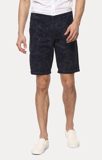 spykar | Spykar Navy Blue Printed Slim Fit Shorts