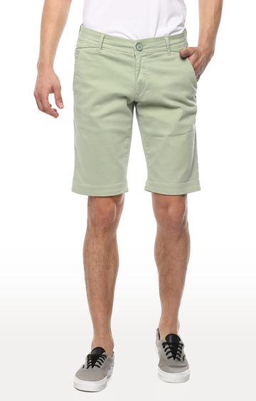 spykar | Spykar Mint Solid Slim Fit Shorts