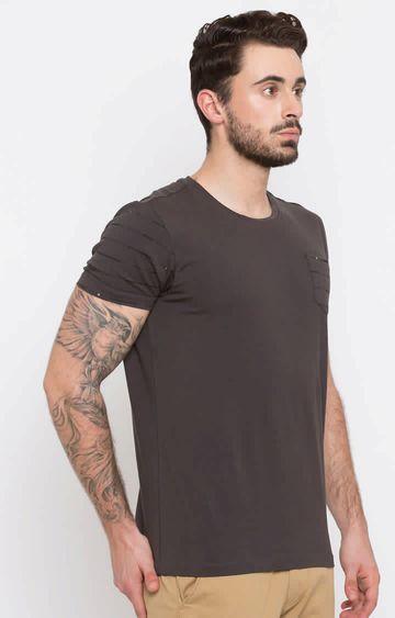 spykar   Spykar Khaki Solid T-Shirt