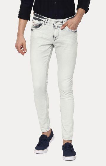 Spykar | Spykar Light Grey Solid Skinny Fit Jeans