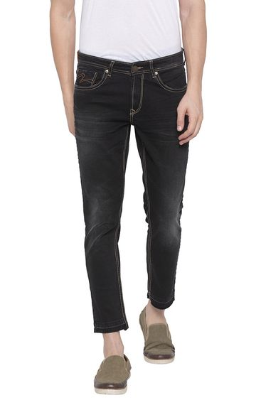 spykar | Spykar Carbon Black Solid Tapered Fit Jeans