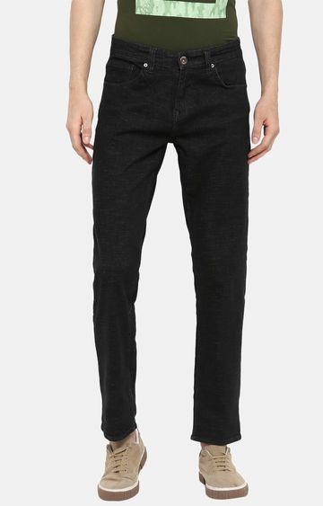 spykar   Spykar Black Solid Regular Fit Jeans