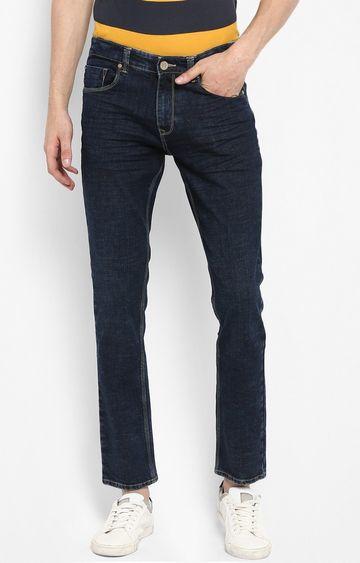 spykar   Spykar Dark Blue Solid Regular Fit Jeans