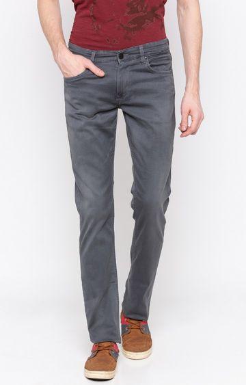 spykar   Spykar Grey Solid Slim Thigh Narrow Leg Fit Jeans
