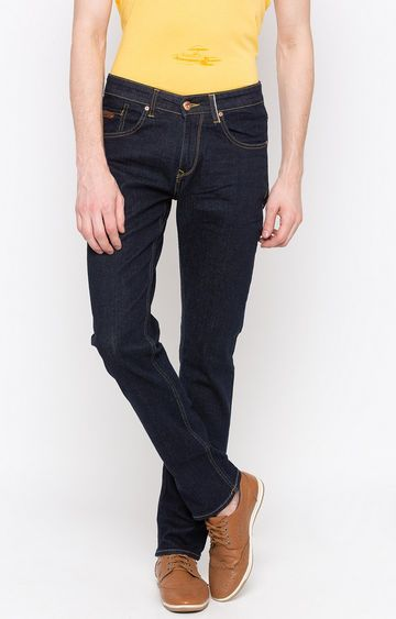 spykar | Spykar Blue Solid Slim Thigh Narrow Leg Fit Jeans