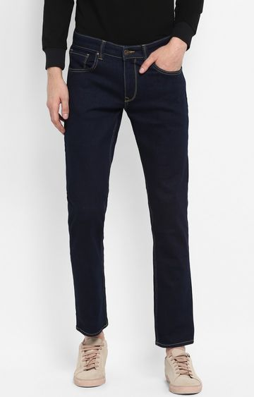 Spykar   Spykar Blue Solid Slim Thigh Narrow Leg Fit Jeans