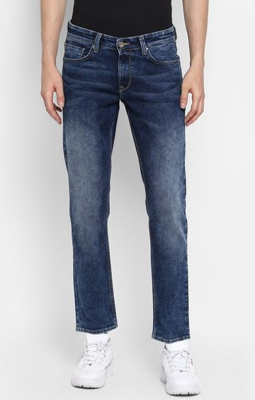 spykar | Spykar Mid Blue Solid Slim Thigh Narrow Leg Fit Jeans