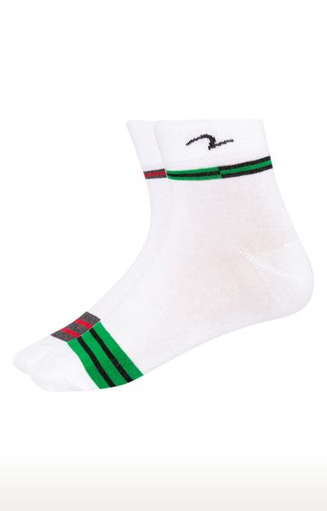 spykar | Spykar Grey & Green Striped Ankle length Socks