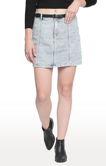 Spykar | Spykar Light Blue Solid Skinny Fit Skirt