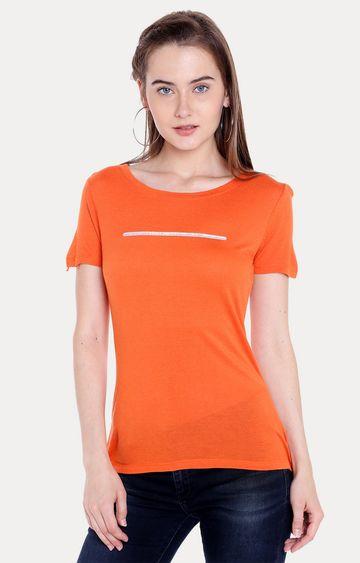 spykar   Spykar Orange Solid Regular Fit T-Shirts