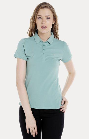 spykar | Spykar Green Solid Regular Fit T-Shirts