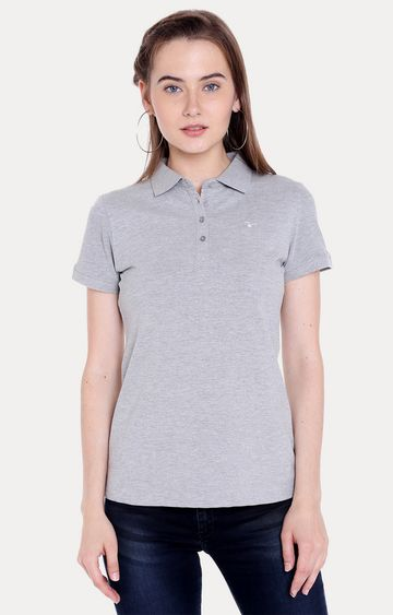 spykar | Spykar Grey Melange Regular Fit T-Shirts