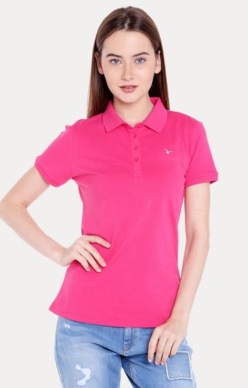 spykar | Spykar Pink Solid Regular Fit T-Shirts