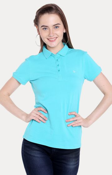 spykar | Spykar Blue Solid Regular Fit T-Shirts