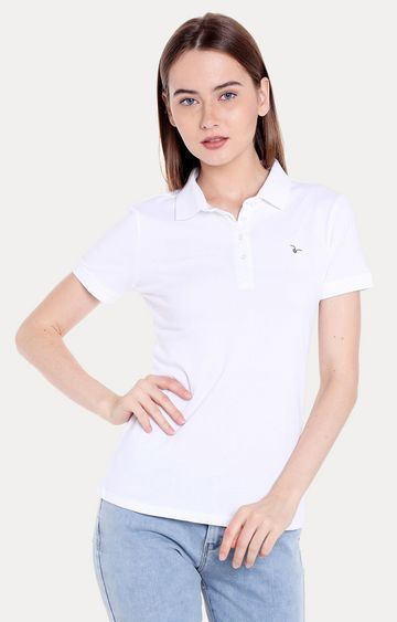 spykar | Spykar White Solid Regular Fit T-Shirts
