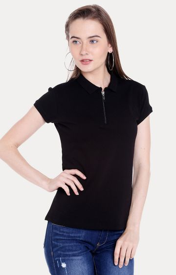 spykar | Spykar Black Solid Regular Fit T-Shirts