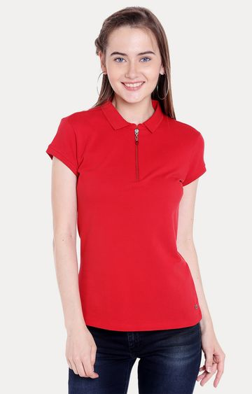 spykar | Spykar Red Solid Regular Fit T-Shirts